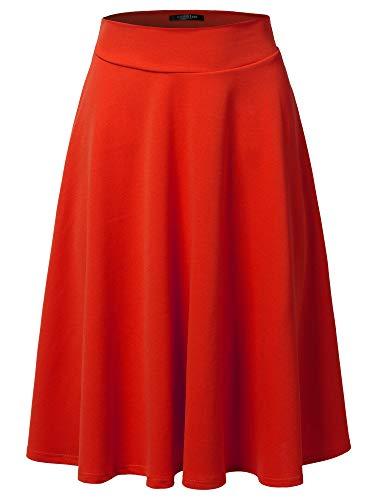 SSOULM Women's High Waist Flare A-Line Midi Skirt RED ()