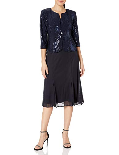 Alex Evenings Women's Tea Length Mock Dress with Sequin Jacket (Petite and Regular Sizes), Navy, 18