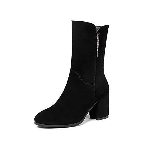 AdeeSu Womens Bucket-Style Warm Lining Solid Black Urethane Boots SXE05036-6 B(M) US