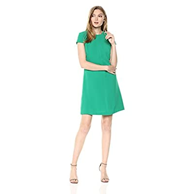 Adrianna Papell Women's Textured Crepe Lace Trimmed Shift Dress at Women's Clothing store
