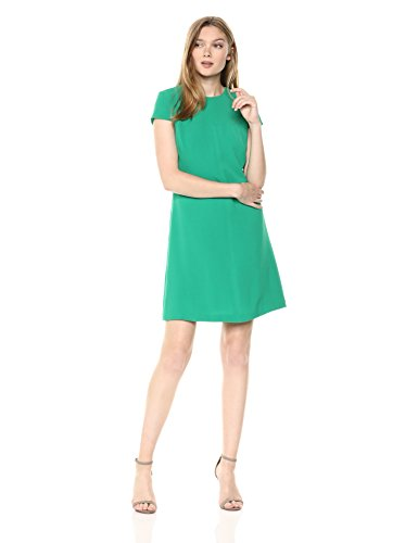 Adrianna Papell Women's Textured Crepe Lace Trimmed Shift Dress, Emerald, 6 - Trimmed Dress
