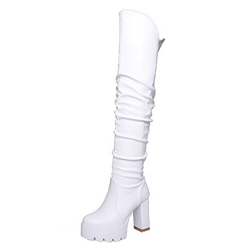 Pull High Heels Round AmoonyFashion High Closed White Toe On Women's Boots Top Solid 1qFqZ5ISw