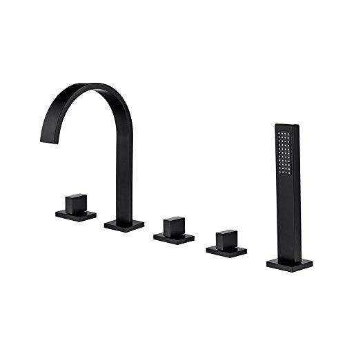 Hongala Modern 5-Piece Roman Bathtub Faucet Waterfall Tub filler with Handheld Shower in Matte Black