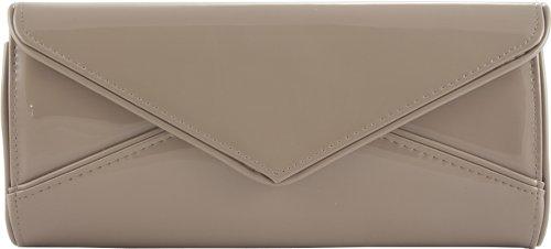 H&G Ladies Large Designer Patent Glossy Fashion Clutch  Evening Handbag Grey
