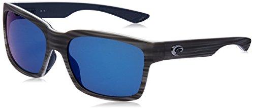 Costa Del Mar Playa Sunglasses, Matte Silver Teak/White/Blue, Blue Mirror 580P ()