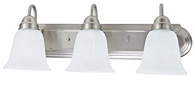 Sunnyfair 3 Bulb Light Vanity Fixture Bathroom Lighting, Brushed Nickel Finish with Alabaster Glass Shades
