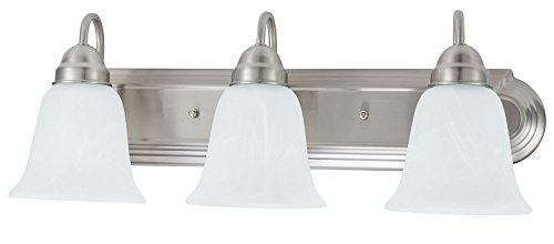 (Sunnyfair 3 Bulb Light Vanity Fixture Bathroom Lighting, Brushed Nickel Finish with Alabaster Glass Shades, UL listed)