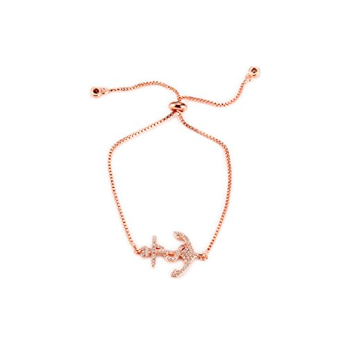 BRBAM Crystal Boat Anchor Stretch Bracelet Adjustable Zircon Boat Anchor Charm Bracelet Gift for Her -