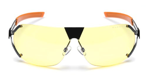 Onyx Finish Frame (Gunnar Optiks DES-05101 SteelSeries Desmo Semi-Rimless Advanced Video Gaming Glasses with Amber Lens Tint, Onyx/Orange Frame Finish)