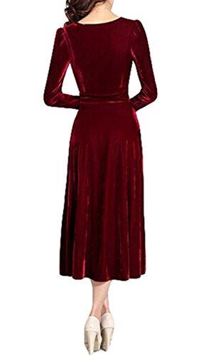 abito oro velluto Burgundy sera da PLAER vestito partito in moda donna 6n1qwA4