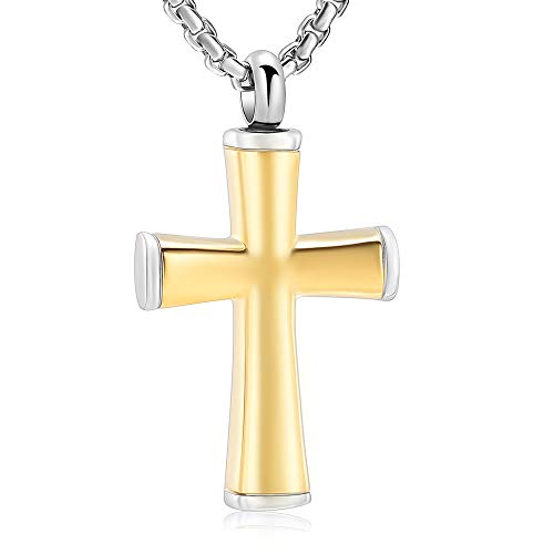 Black Cross Cremation Necklace Hold Loved One's Ashes Memorial Urn Jewelry for Women Men Keepsake Necklace Pendant(Gold)