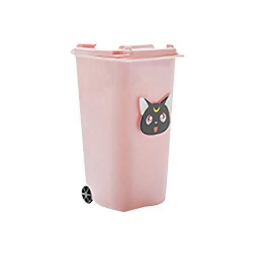 (Zerama Mini Trash Can Storage Bin Pen Cup Desktop Garbage Shape Pink Pencil Holder Students Supplies)