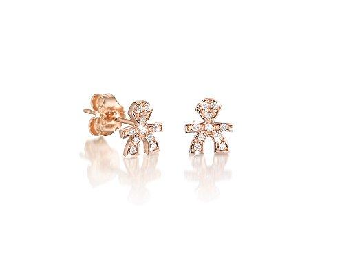 Le Bebè Mono Boucles d'oreille clou Or rose avec pavé de diamants 0,03 cts