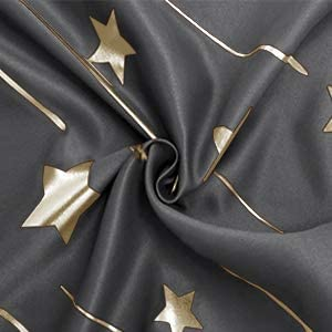 Dark Grey Foil Printed Thermal Insulated Privacy Energy Saving Grommet Window Curtain 52 x 63 inch Length Set of 2 Kids Room Bedroom Curtains DWCN Gold Star Blackout Curtains