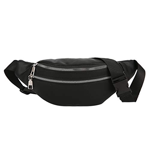 LONGDAY  Men Women Sling Bag Lightweight Casual Daypack Chest Shoulder Bag Plain Messenger Bag Sports Double Zipper Black]()