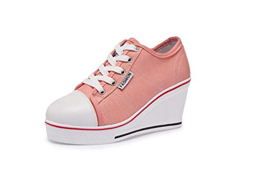 DETAIWIN Women Platform Sneakers Vulcanize Lace Up Breathable Comfortable Non Slip Casual Wedge Canvas Shoes]()