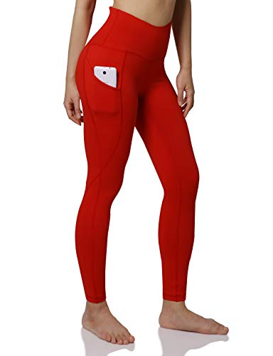 ODODOS Women's High Waist Yoga Pants with Pockets,Tummy Control,Workout Pants Running 4 Way Stretch Yoga Leggings with Pockets,Red,X-Large