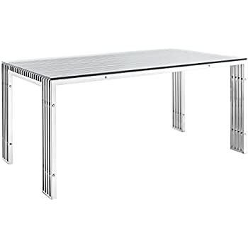 modway gridiron stainless steel dining table in silver