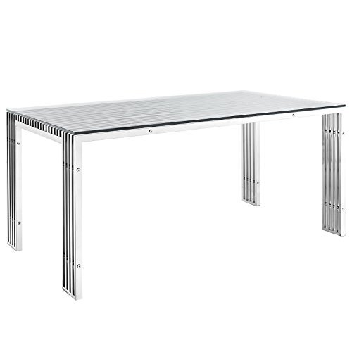 Table Modern Rectangular Dining (Modway Gridiron Stainless Steel Dining Table in Silver)