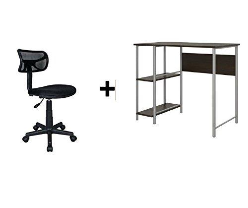 Mainstays Basic Student Espresso Desk, Bundle Set with Black Chair