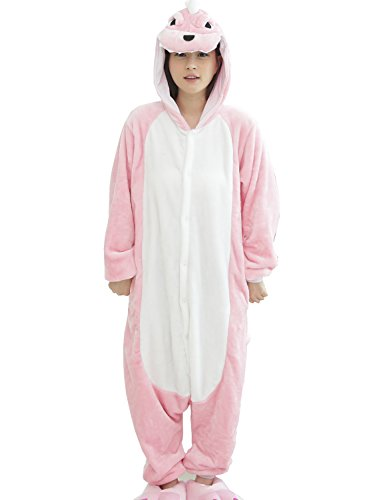 RubySports Unisex Animal Cosplay Costume Onesie Pajamas Adult Playsuit Pink Dinosaur L