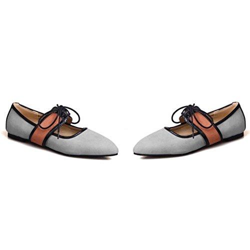 COOLCEPT Zapato Mujer Mary Jane Tacon Bajo Prom Dedo Del Pie Cerrado Cordones Fiesta Court Zapato Gris