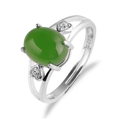 (Simple Green Jade Rings with Egg Face and Jade Opening(Silver-Plated-Base Adjustable))