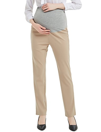 Bhome Maternity Dress Pants Flattering Work Long Pants Stretch Slim Fitted Trousers Khaki M