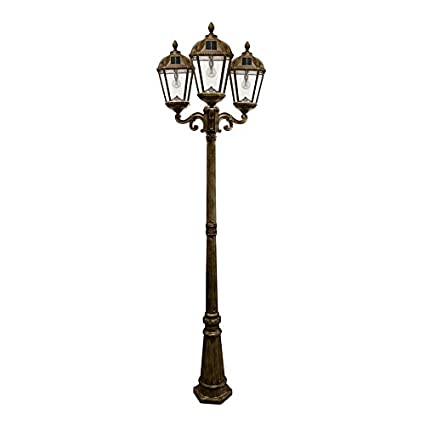 Gama Sonic Gs 98b T Wb Royal Bulb Triple Head Lamp Post 3 Outdoor Solar Lights On Pole Weathered Bronze