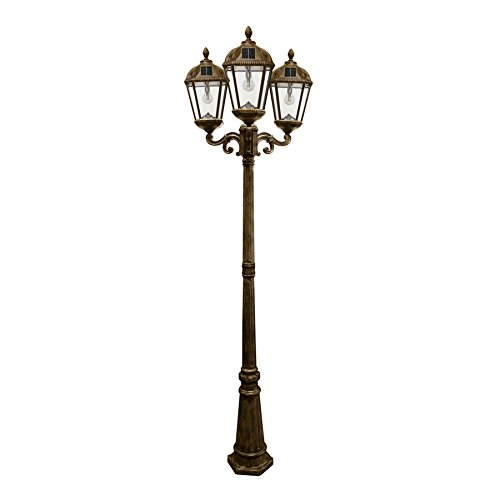 Gama Sonic GS-98B-T-WB Royal Bulb Triple Head Lamp Post 3 Outdoor Solar Lights on Pole, Weathered Bronze