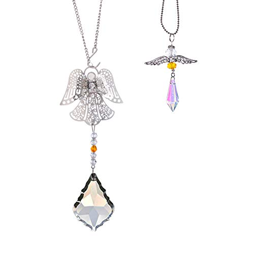 - H&D HYALINE & DORA Crystal Angel Suncatcher Car Charm Set for Rear View Mirror Home Decor (Yellow)