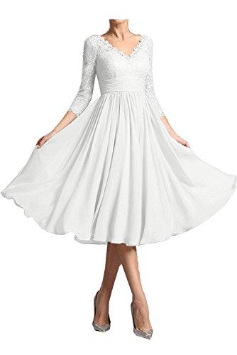 Marie Ausschnitt Kurz Abendkleider La Langarm Brautmutterkleider Braut Elfenbei Partykleider Spitze V Damen Uddgqw