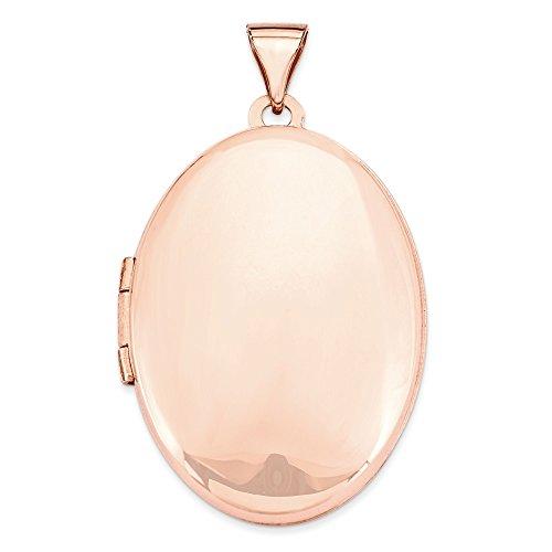 14k Rose Gold Polished 26mm Domed Oval Locket Pendant by K&C