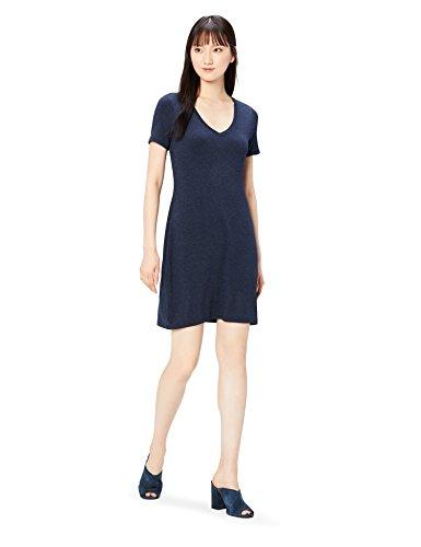 Daily Ritual Women's Jersey Short-Sleeve V-Neck T-Shirt Dress, Navy Heather, XL
