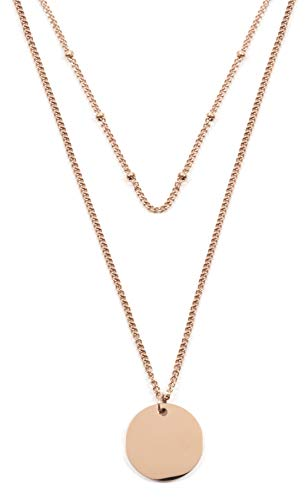- Happiness Boutique Layered Necklace Circle Pendants in Rose Gold | Double Row Necklace Round Disc Pendants