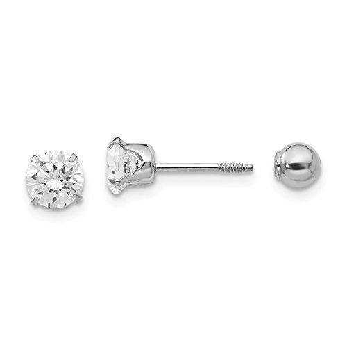 14k White Gold 5mm Cubic Zirconia Cz 4mm Ball Reversible Earrings Fine Jewelry For Women Gift Set (14k Zirconium Ring Cubic)