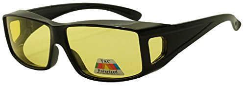 Yellow HD Night Driving Polarized Lens Fit Over Sun Glasses Wrap Around Wear Over Readers - Polarize Definition Of
