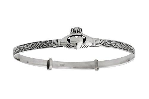 Sterling Silver Claddagh Bracelet - FashionJunkie4Life Sterling Silver Irish Claddagh Bangle Bracelet