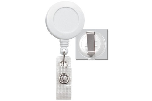 White Round Badge Reel - Belt Clip - Reinforced Vinyl Strap (100pk)