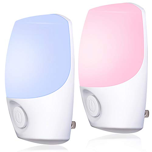 Color Selected Plug in Night Light, Emotionlite Color-Changing LED Nightlight, Dusk to Dawn Sensor, Color Roation, Fixed Color, Warm White by Switch. Kids Room, Bedroom, UL Listed, 2 Pack