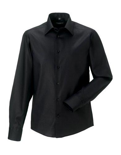 Russell Sammlung Langarm zugeschnitten ultimative bügelfreie Hemd Schwarz 16