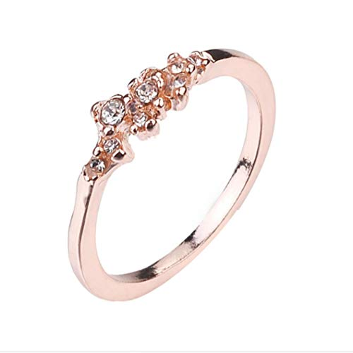 YJYdada Ring, 9 Diamonds Women's Ring Bride Ring Wedding Ring Birthday Gifts (Rose Gold, 7)