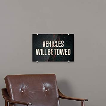 CGSignLab Vehicles Will Be Towed 27x18 Ghost Aged Rust Premium Acrylic Sign