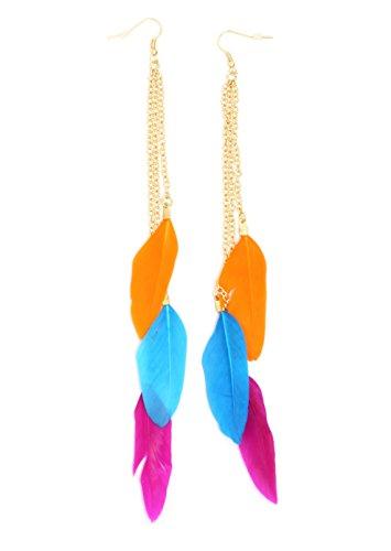 Neon Feather Chandelier Earrings Orange Pink Blue Dangling EH66 Fashion Jewelry
