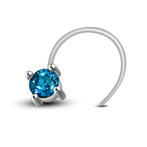 AT Jewellers 14K White Gold Over 925 Sterling Silver Round Cut Blue Topaz Nose Pin Rings for Womens and Girls