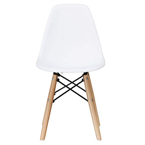 2xhome - Kids Size Side Chair Yellow Seat Natural Wood Wooden Legs Eiffel Childrens Room Chairs No Arm Arms Armless Molded Plastic Seat Dowel Leg (White)