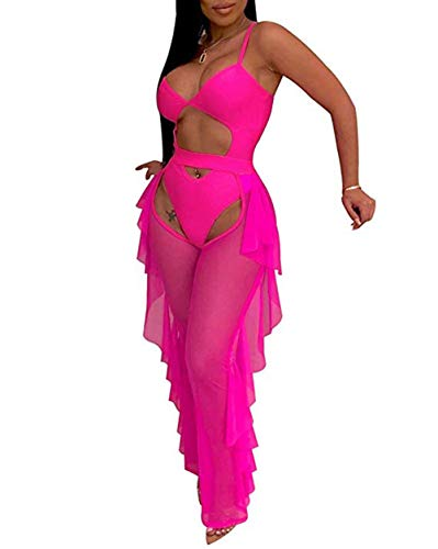 Katblink Two Piece Outfits for Women - Sexy Mesh See Through Swimsuit Bikini Bottom Cover Up Ruffle Pants Set Beachwear Rose Red - 2 Piece Mesh Stretch