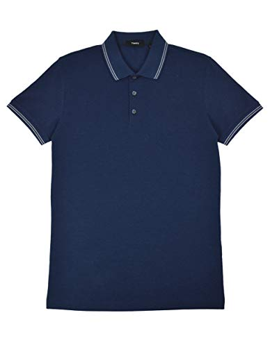 Theory Men's Boyd TC Striped Collar Pima Pique Cotton Polo Shirt Dark Blue (X-Small)
