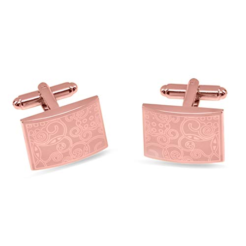 JewelsiQ Mens Cufflinks 14k Gold Plated Rectangle Shaped Laser Engraved Elegant Design (Rose Gold, Rose (Rose Gold Plated Cufflinks)