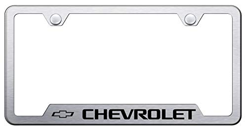 Automotive Gold Laser Etched Brushed Chevrolet Cut-Out Frame AG-GF-CHV-ES